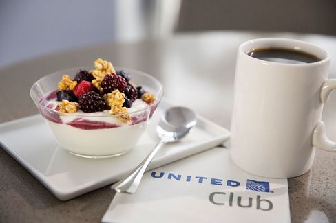 United Club's new complimentary food menu includes Greek yogurt.