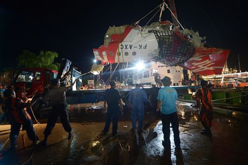 The tail section of the Air Asia aircraft is loaded onto a truck