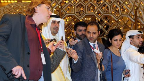 Anas al-Saleh, second left, arrives for the Doha talks in the Qatari capital Doha, on April 17, 2016.