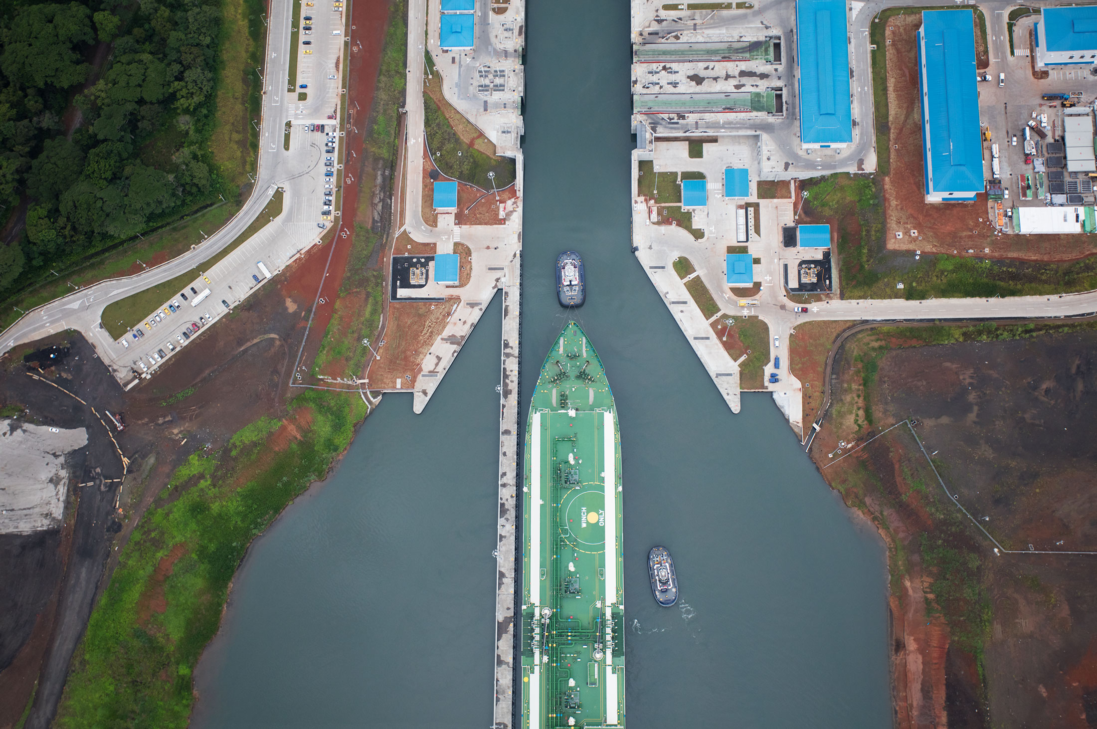 Shell Maran Gas Apollonia arrives at the North Locks of the Panama Canal on Monday, July 25.
