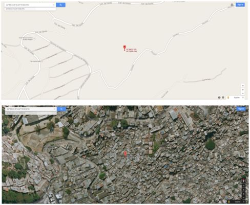 How the favela looks on Google Maps versus the complex, densely-populated reality