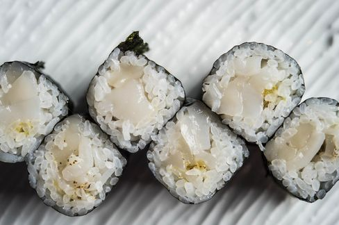 New to the menu: maki made with scallop and yuzu kosho, a reconfiguration of the sushi bar's fantastic scallop nigiri.