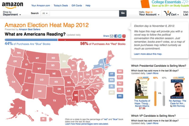 Amazons election heat map polling by the book bloomberg screen grab of the amazon amazon election heat map 2012 reflecting their sales of red books and blue books as of august 23 2012 gumiabroncs Gallery
