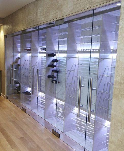Joseph & Curtis Custom Wine Cellars in Mountainside, N.J., designed this almost-completed glass wine wall for the New York apartment of New York Knicks star Carmelo Anthony. The back-lit racks hold 480 bottles.