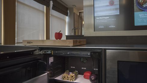 Vegetables are detected by a camera when used with appliances that are optimized with Innit technology.