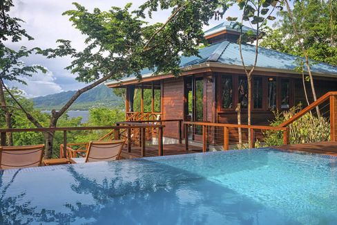 One of two treehouse suites at Secret Bay, in Dominica.