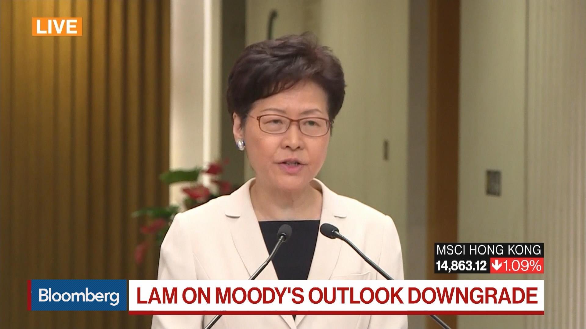 Hong Kong Executive Carrie Lam on Moody's Outlook Downgrade on Hong Kong