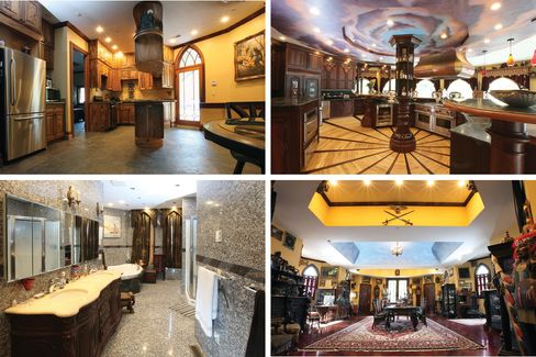 Among the castle's curiosities is an auditorium and stage, a group shower, and a 1,400-square-foot kitchen.