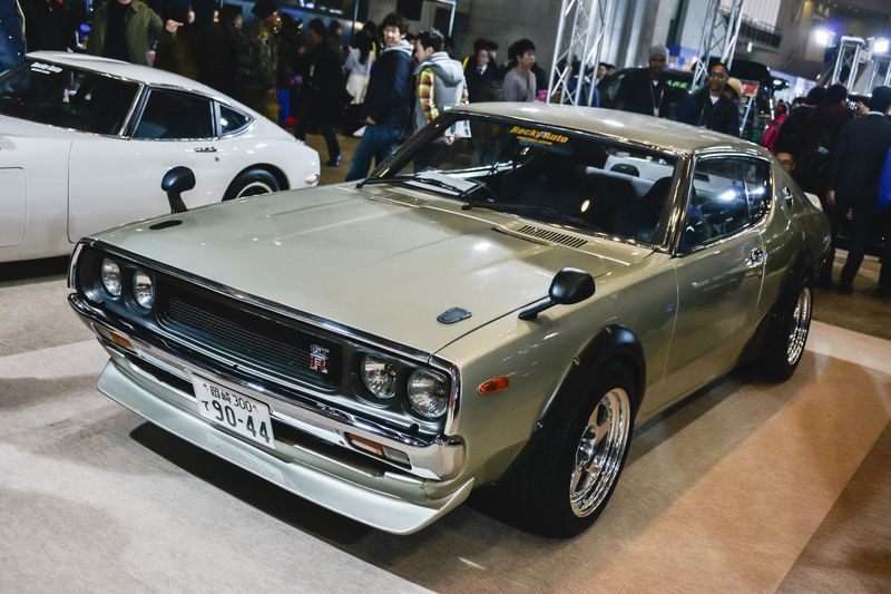 a vintage nissan skyline gtr is seen at the tokyo auto salon 2015 at makuhari messe