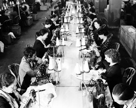 Sewing, 10th Avenue and 36th Street, 1937.