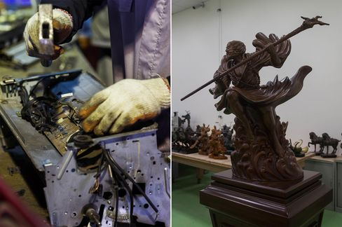 Left: A worker dismantles a printer. Right: Figurines made from processed e-waste sit on display.