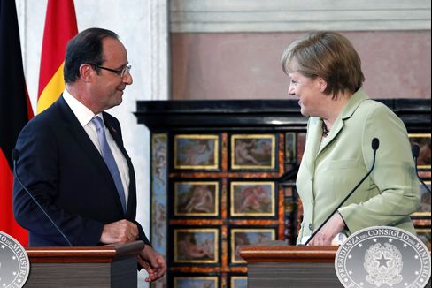 French President Hollande and German Chancellor Merkel