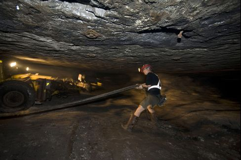 A Miner Works in a Copper Mine in Polkowice