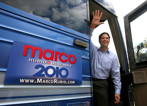 Marco Rubio talks to supporters in Orlando on a a four-day, 14-city statewide campaign bus tour for his 2010 Senate campaign.