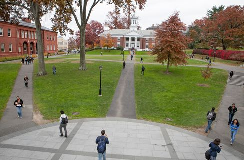 Students on campus at Amherst College in Amherst, Mass.