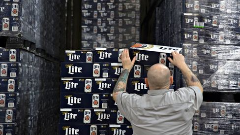 SABMiller Miller Lite brand beer at a warehouse in Peoria, Illinois.