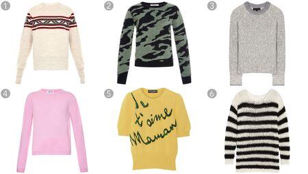 (1) Blake tribal-stripe wool-blend sweater, Isabel Marant, $640, matchesfashion.com; (2) Camouflage jacquard sweater, Carven, $650, modaoperandi.com; (3) Karen wool-blend sweater, Rag & Bone, $322, mytheresa.com; (4) Cashmere crewneck sweater, Jil Sander, $726, matchesfashion.com; (5) Embellished cashmere sweater, Dolce & Gabbana, $1,995, net-a-porter.com; (6) Striped wool-blend sweater, Saint Laurent, $1,190, net-a-porter.com.