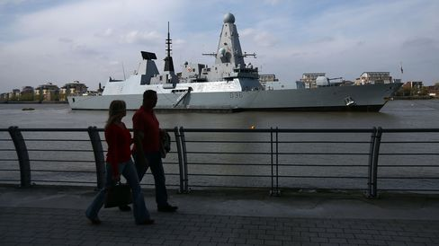 HMS Middleton And HMS Defender Moor In London Ahead Of Gallipoli Centenary Commemorations