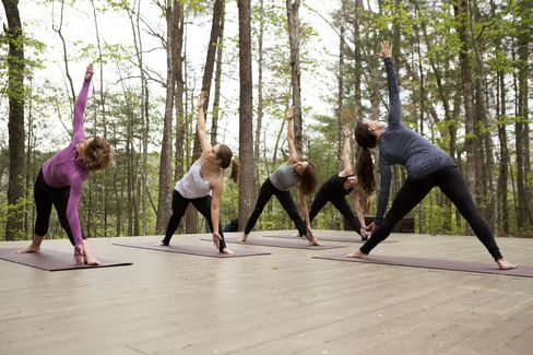 Yoga in the foothills of the Great Smoky Mountains, at Blackberry Farm.