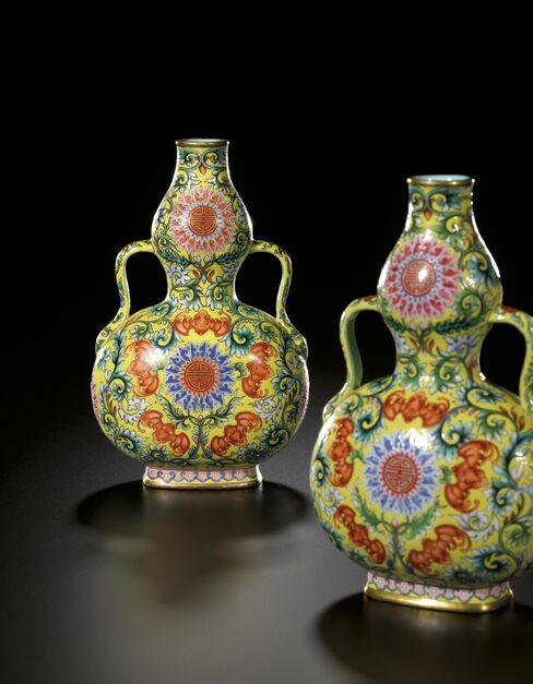 Yellow Double-Gourd Vases