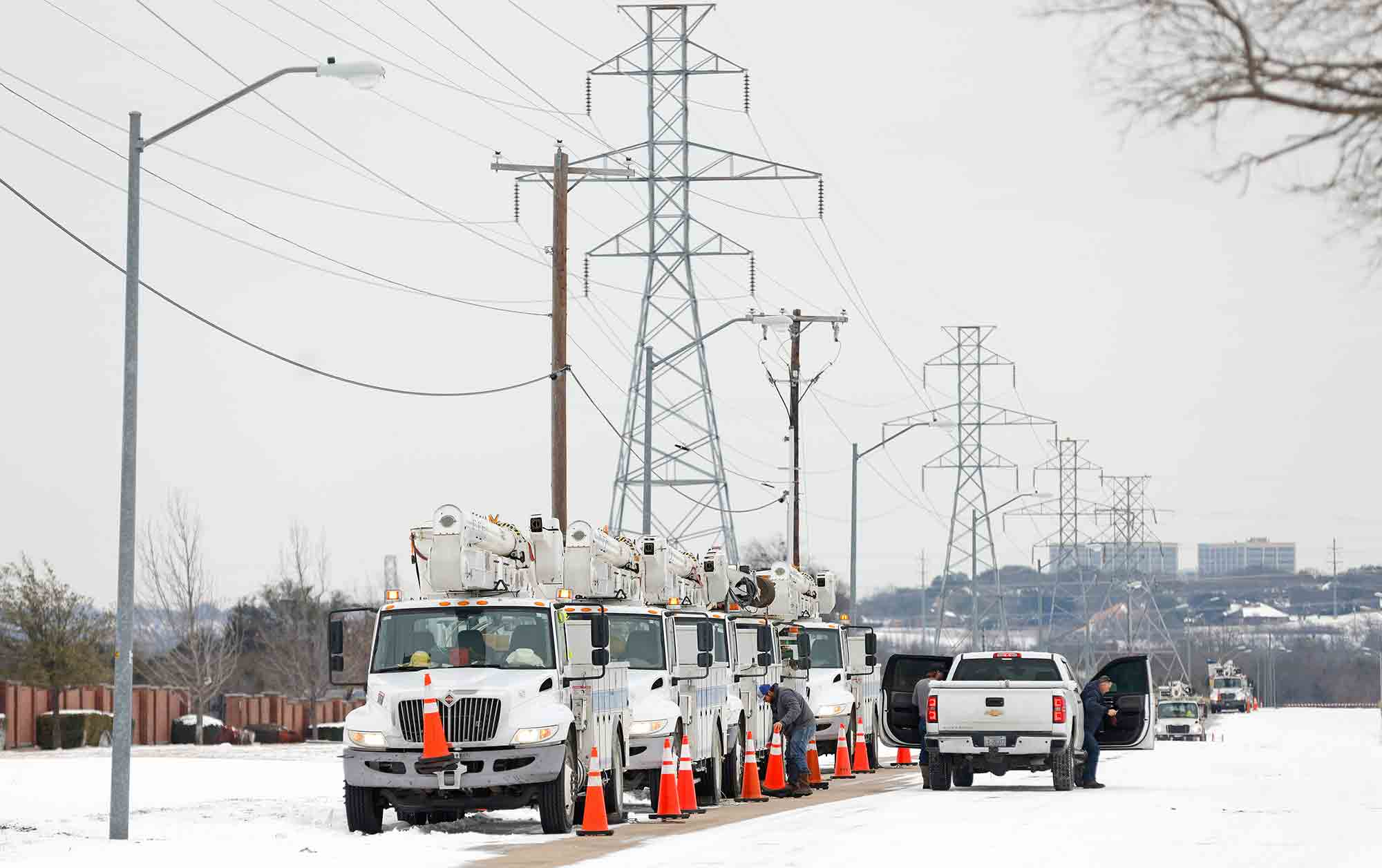 Electricity service trucks lined up ahead of use in Fort Worth, Texas on Feb. 16