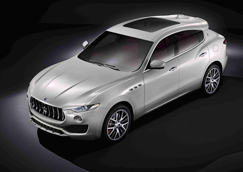 Maserati's first SUV, the Levante, will be made in Turin, Italy. It has tapered headlights, three iconic air vents along the side, and large, frameless door windows.