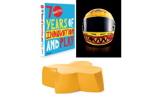Pictured: A Mattel Hot Wheels helmet worn by rally car driver Tanner Foust in 2012 (top); Frank Gehry's lighthearted, kid-friendly coffee table (bottom).