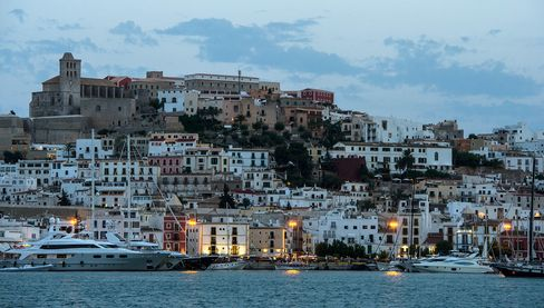 Ibiza's Old Town at dusk.