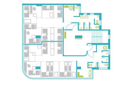 シナジー・ビズの共同住宅のフロア見取り図