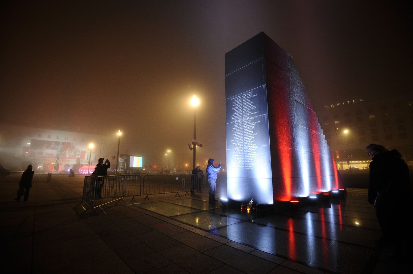 Lech Kaczynski Monument In Warsaw