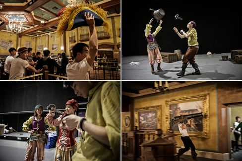 Performers rehearse for the Jack Sparrow's Stunt Spectacular in Treasure Cove at the Shanghai Disneyland.