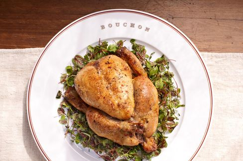 Chicken is served at Bouchon in Yountville.