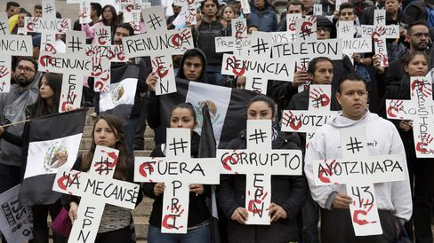 Protest March Demanding Justice For Ayotzinapa Students And Other Missing Persons