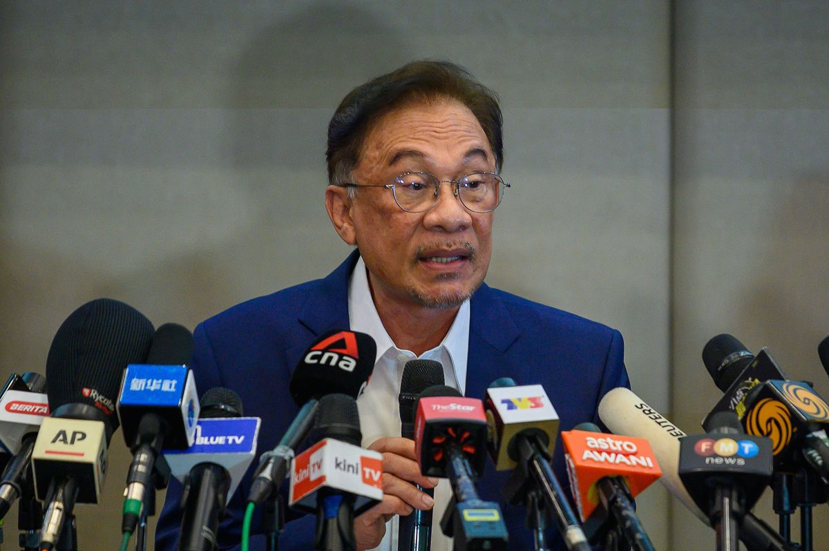 Anwar Ibrahim speaks during a news conference in Kuala Lumpur on Sept. 23.