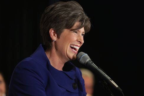 WEST DES MOINES, IA - NOVEMBER 04: Republican U.S. Senator-elect Joni Ernst thanks her supporters after she won the U.S. Senate race on election night at the Marriott Hotel November 4, 2014 in West Des Moines, Iowa. Ernst and her opponent Democrat Rep. Bruce Braley (D-IA) were locked in a months-long campaign battle that had them tied in the polls going into election day.