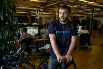 Ryan Petersen, chief executive officer and founder of Flexport Inc., stands for a photograph at the company's office in San Francisco, California, U.S., on Wednesday, April 15, 2015. Flexport Inc. helps companies ship goods internationally. Photographer: David Paul Morris/Bloomberg *** Local Caption *** Ryan Peterson