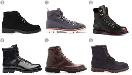 (1) Suede Boots A.P.C. $495, mrporter.com;(2) JC hiker boot, Bally, $695, bally.com;(3) Leather Trekking boot, Gucci, $995, gucci.com;(4) Leather boot, Prada, $1,350, prada.com;(5) Copeland boot, Wolverine 1883, $265, eastdane.com;(6) Waxed leather lace-up hiker boot, Brunello Cucinelli, $1,095, neimanmarcus.com.