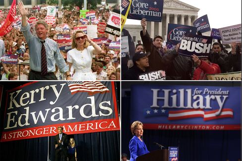 Clockwise from top left, examples of the old-school political aesthetic: Former President Bill Clinton in front of his billowing flag logo in 1992; logos from the 2000 election; John Kerry's 2004 logo; Hillary Clinton's 2008 primary logo.