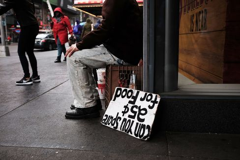 A man panhandles for money and food on April 7, in New York City.