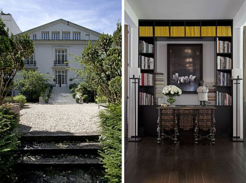 From left: The exterior of the building; a 17th century Mazarin desk sits under a custom bookshelf.