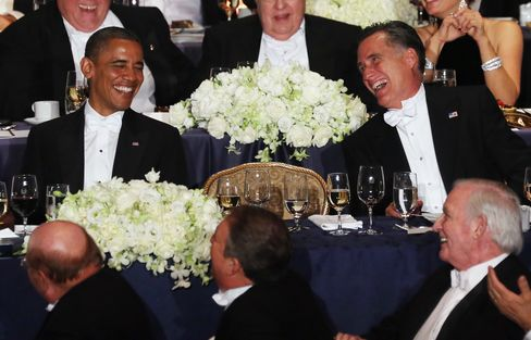 Obama, Romney Combativeness Turns Cordial at New York Fundraiser