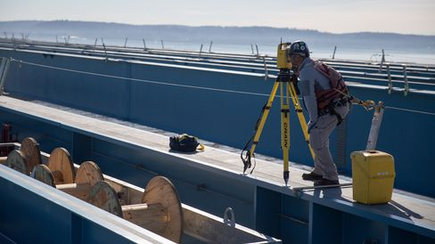 A surveyor works on the new Tappan Zee.