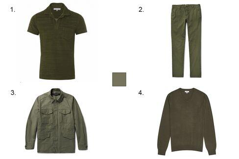 1. Orlebar Brown Terry polo in Army Acru, $150, orlebarbrown.com 2. Incotex slim-fit stretch-cotton corduroy trousers, $375, mrporter.com 3. Rag & Bone cotton-canvas field jacket, $575, mrporter.com 4. Reiss Emporer merino v-neck sweater, $145, reiss.com.