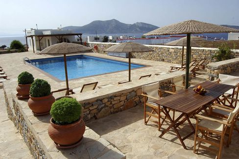 The pool area at the Aeolos Hotel.