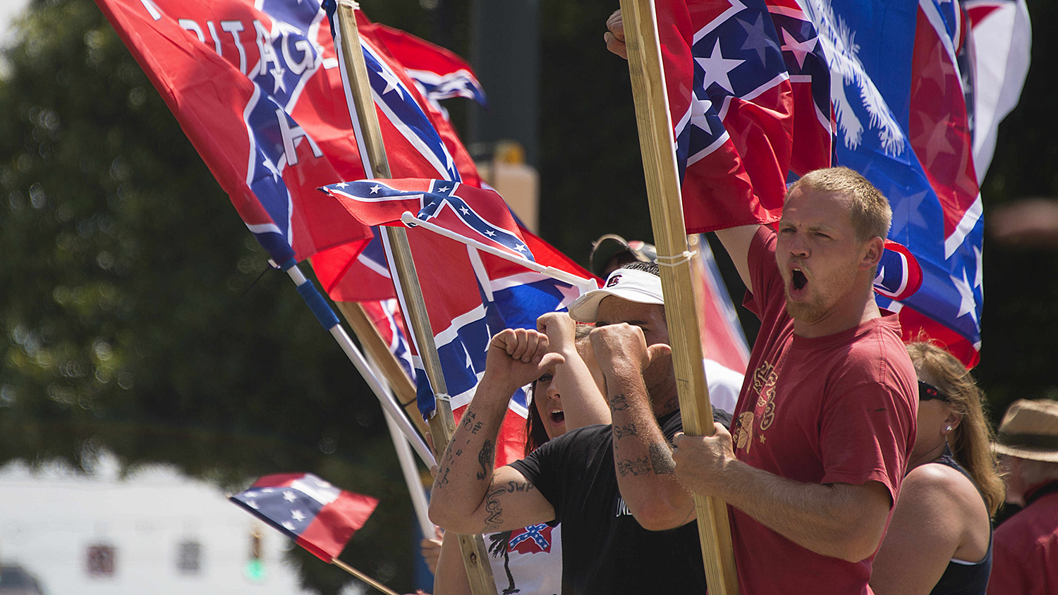 Confederate flag supporters rally