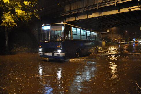 The flooded Erzsebet Kiralyne road in Budapest, Hungary, on Aug. 17, 2015.