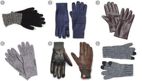 (1) Wool touchscreen gloves, Polo $58, ralphlauren.com; (2) merino wool texting gloves, Banana Republic $29.50, bananarepublic.com; (3) leather touchscreen gloves, Kenneth Cole $135, kennethcole.com; (4) touchscreen liner gloves, Burton $17, urbanoutfitters.com; (5) Logan wales gloves, Honns $98, honns.com; (6) white-and-gray twisted gloves, Topman $15, topman.com.