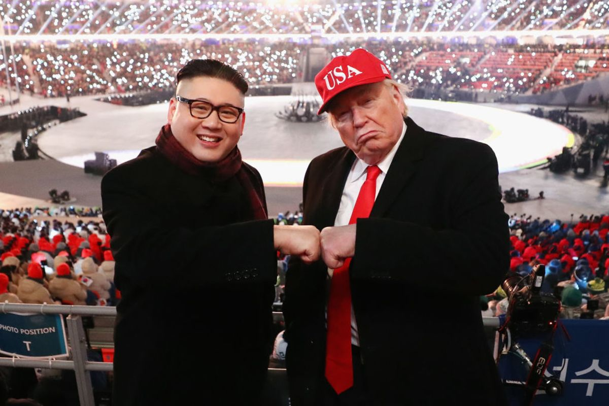 Kim and Trump impersonators at the Winter Olympics. Image: Ryan Pierse/Getty Images