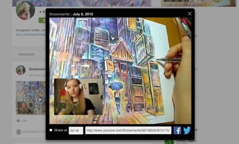 In an archived YouNow stream, Marite Desaine draws for her fans.