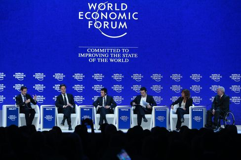 Rutte, second left, Valls, center left, and Schaeuble, right, at Davos